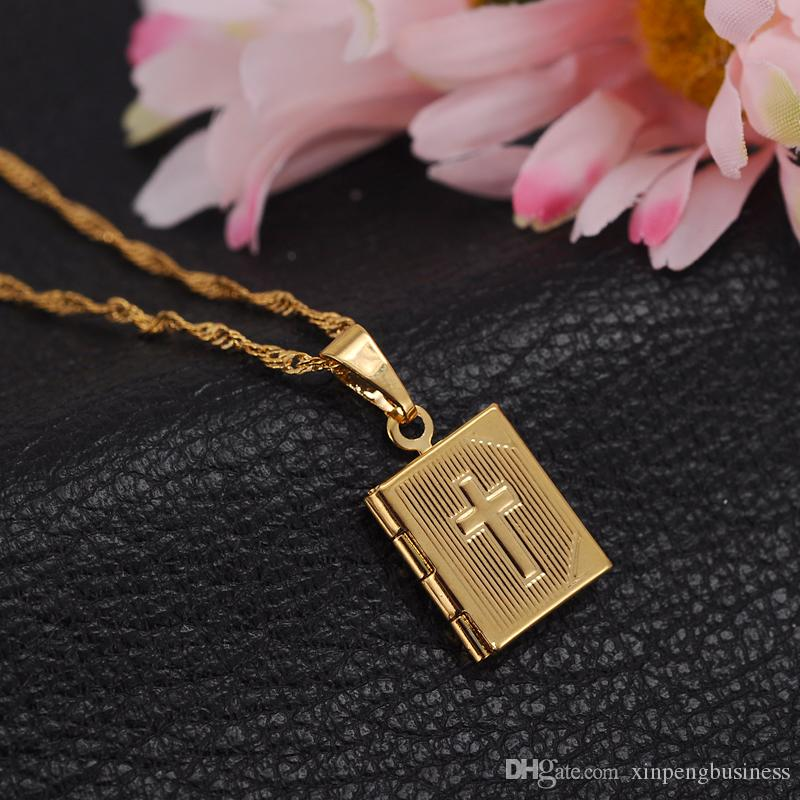Bible 18k Yellow Gold GF Box Open Pendant Necklace Chains Crosses Jewelry Christianity Catholicism Crucifix Religious