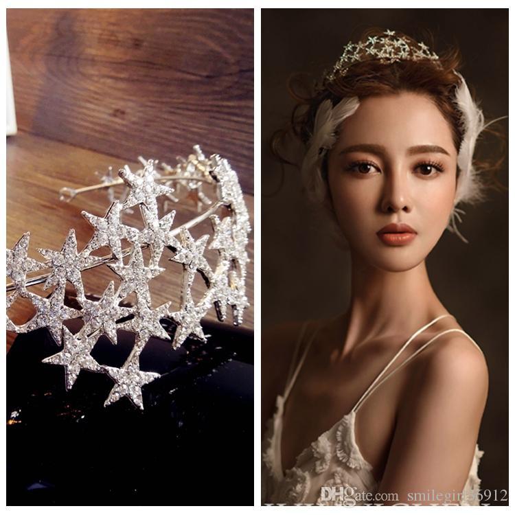 Vintage Handmade Wedding Bridal Rhinestone Crystal Star Silver Crown Tiara Headband Hairband Head Jewelry Headpiece Hair Accessories Prom