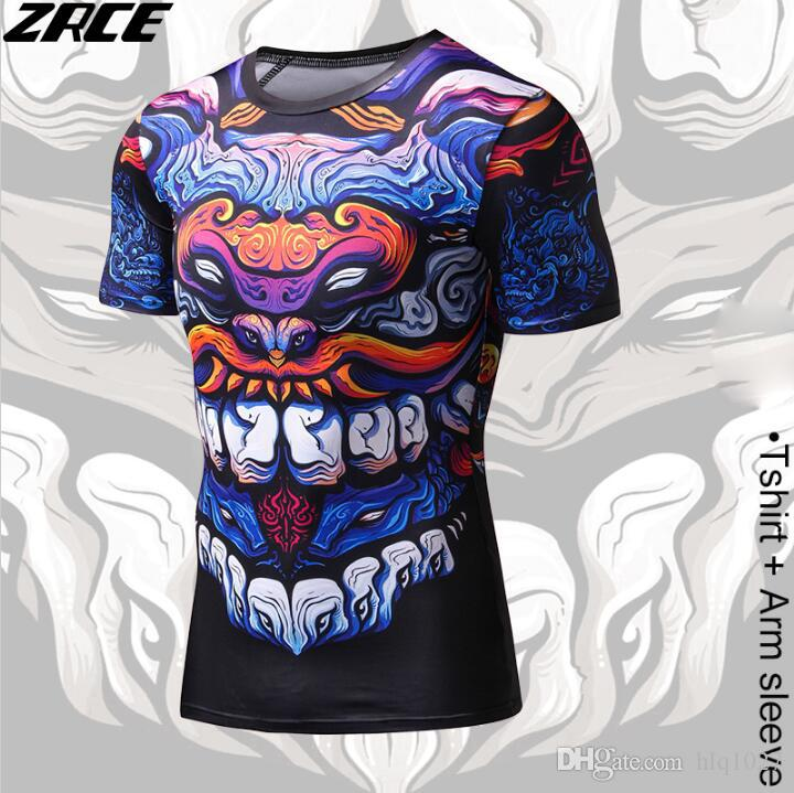 Compression Shirt Chinese Style Funny T Shirts Dragon Brand Clothing 3D T Shirt With Arm Sleeve Body Engineers Tee Shirt