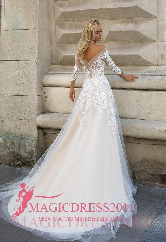 Oksana Mukha 2019 Robes de mariée A-ligne-épaule manches longues Illusion corsage très Agrémenté Vintage de soirée de mariage Robes de mariée