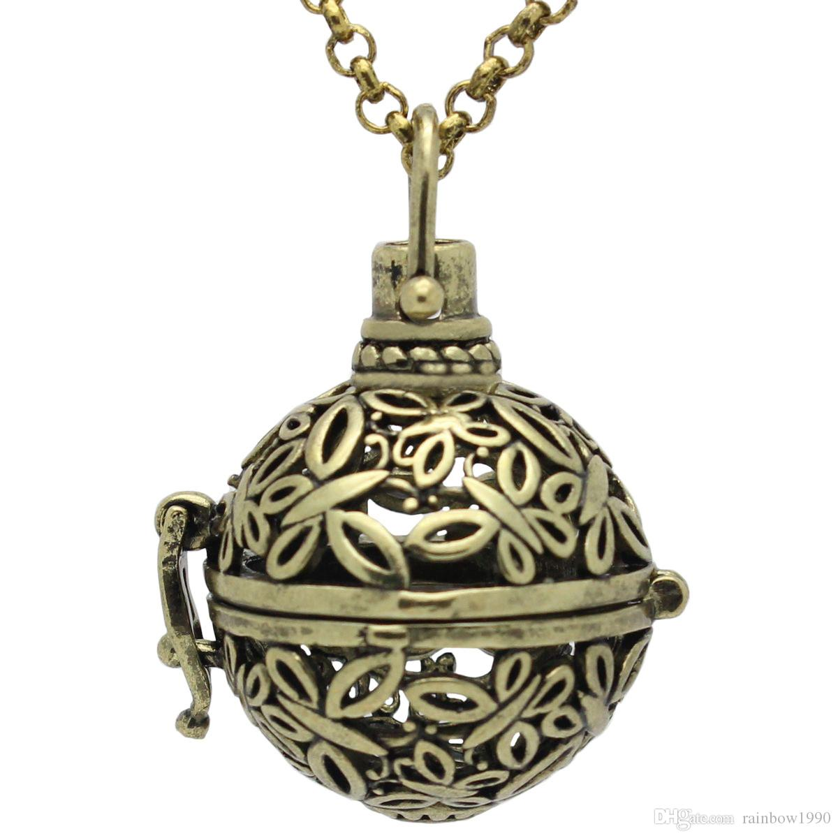 "Wholesale Antique Bronze Butterfly Hollow Cage Locket Aromatherapy Essential Oil Diffuser Pendant 30"" Chain Necklace"