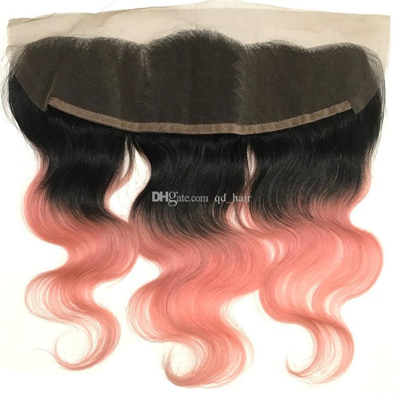 Ombre Farbe 1b Rose Gold Menschliches Haar Spitze frontal Schließung dunkle Wurzeln blonde Körper Welle Haar Ohr zu Ohr frontal frei Teil