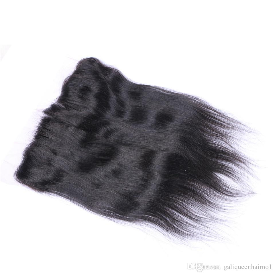 Capelli lisci brasiliani 13x4 Orecchio all'orecchio Pre Pizzicate Frontale Chiusura con Baby Hair Remy Parte libera dei capelli umani