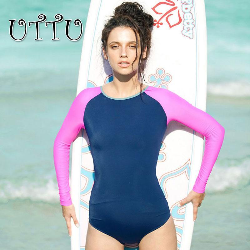 UTTU New Patchwork Surfing One Piece Swimsuit Long Sleeve Swimwear Women Sport Modest Bathing Suit Conservative Beach Swim Wear