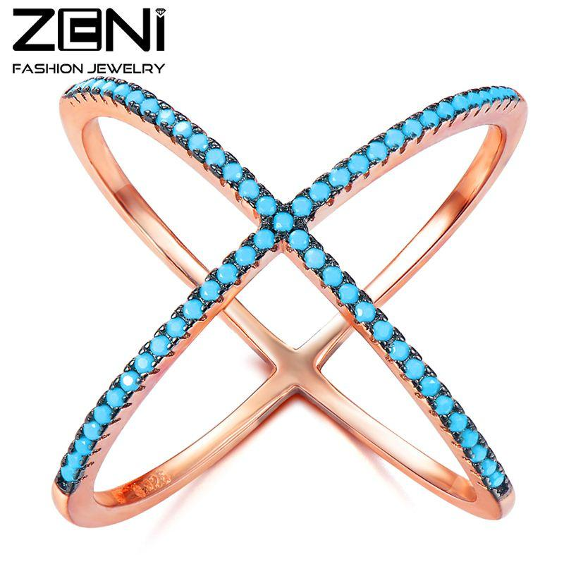 2018 Zeni X Criss Cross Ring Rose Gold Plated Nano Turquoise Party