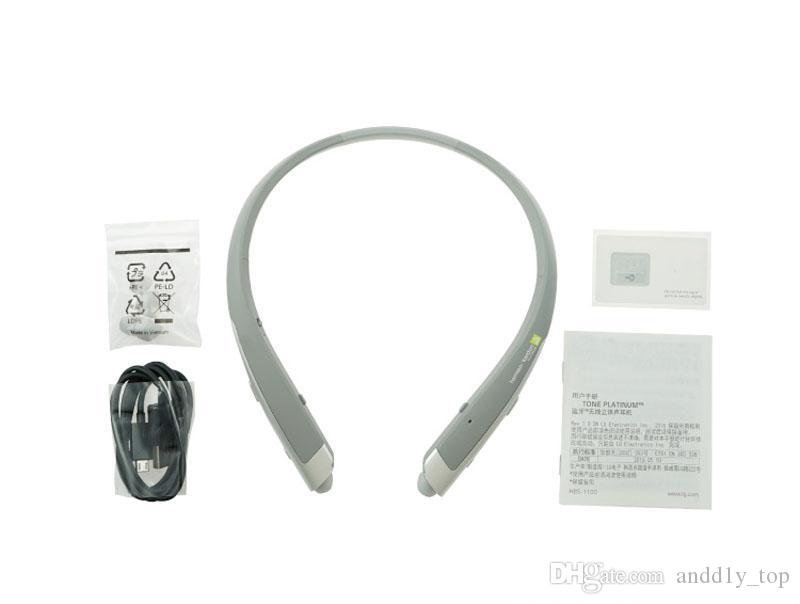 Auriculares inalámbricos HBS 1100 Bluetooth de calidad superior HBS1100 con un paquete rígido para la venta al por menor CSR 4.1 Banda para el cuello Auriculares deportivos Auriculares con micrófono