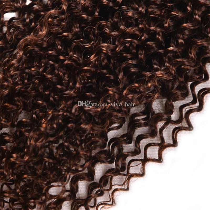 8A Brezilyalı Sapıkça Kıvırcık Bakire Saç 3 Paketler # 4 Açık Kahverengi Kıvırcık İnsan Saç Örgüleri 3 Adet / grup Kestane Kahverengi Saç Uzantıları