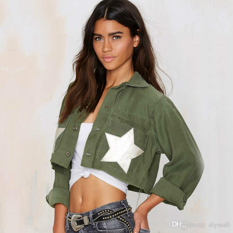 Military Green Women Jeans Jackets Short Tops Spring Autumn Long ...