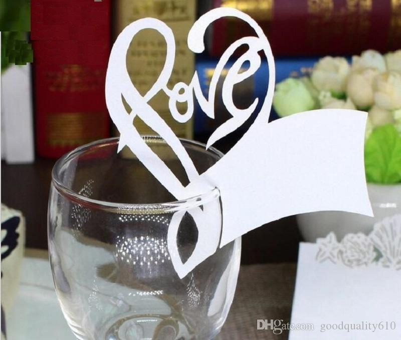 Hot Hollow Love Heart Shape Paper Place Card Escort Cup Card Wine