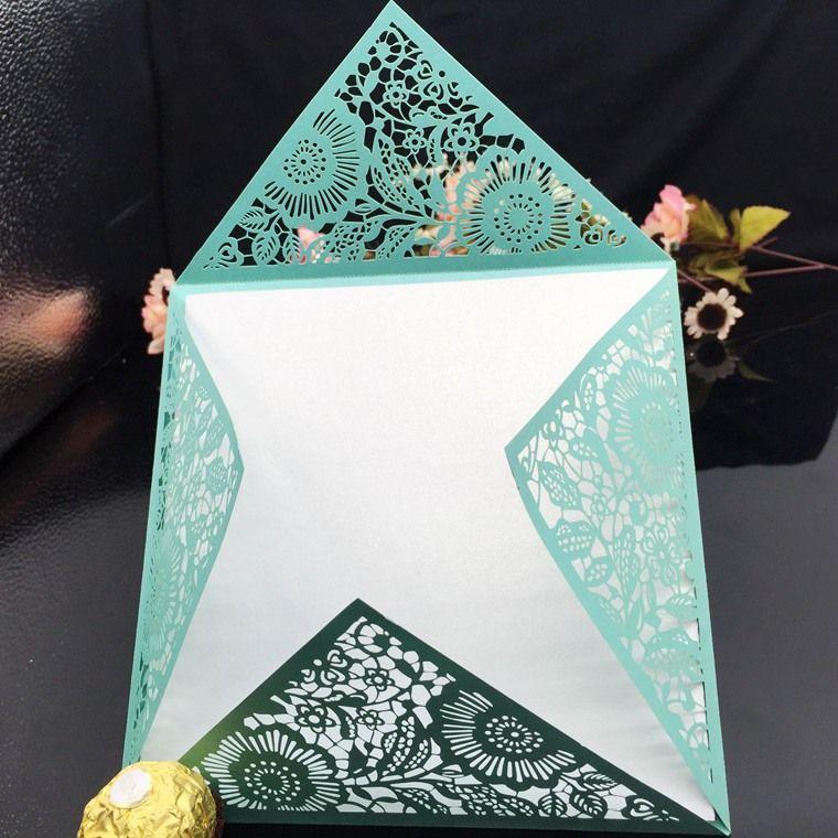 свадебные приглашения лазерная резка свадебные приглашения свадебные приглашения наборы пустой внутри страницы с белый конверт, наклейка уплотнительной