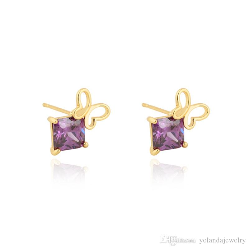 2018 18k Yellow Gold Plated Small Butterfly Earring Baby Stud ...