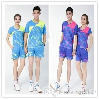 Free shipping VICTOR badminton shirts shorts,polyester breather men/women South Korea under short sleeve uniform,table tennis sportwear sets