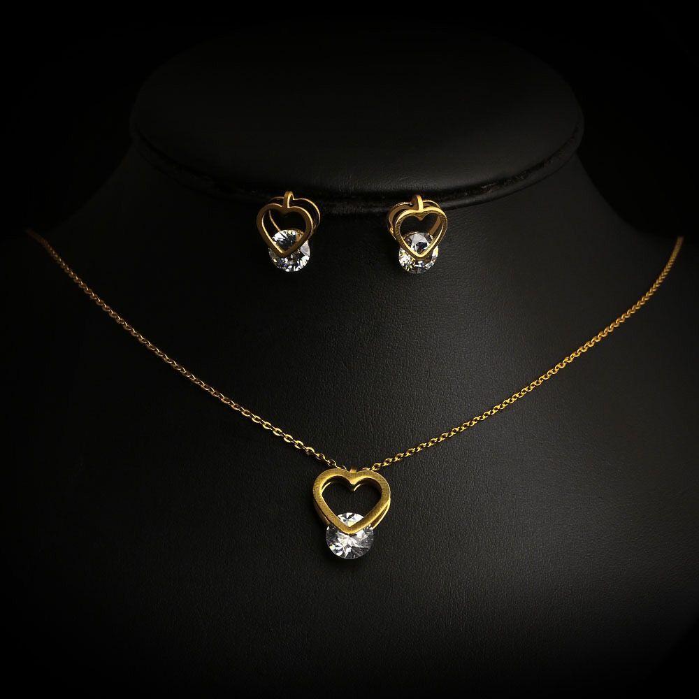 2018 fashion new stainless steel jewelry set zircon heart pendant fashion new stainless steel jewelry set zircong aloadofball Images