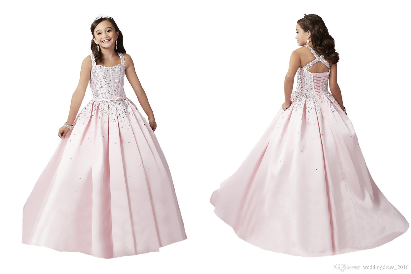 Pale Pink Beads Flower Girl Dresses Rhinestones Custom Made Princess