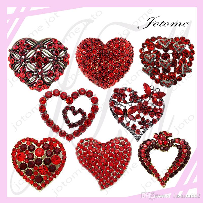2018 choose design first valentines day exclusive gift gold tone element crystals valentine heart pin brooch red brooches for lover from fashion882 - First Valentines Day