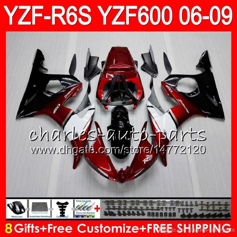 8Gifts Body For YAMAHA YZF600 YZFR6S 06 07 08 09 57HM5 Pearl red YZF R6 S YZF 600 YZF-R6S YZF R6S 2006 2007 2008 2009 Fairing kit