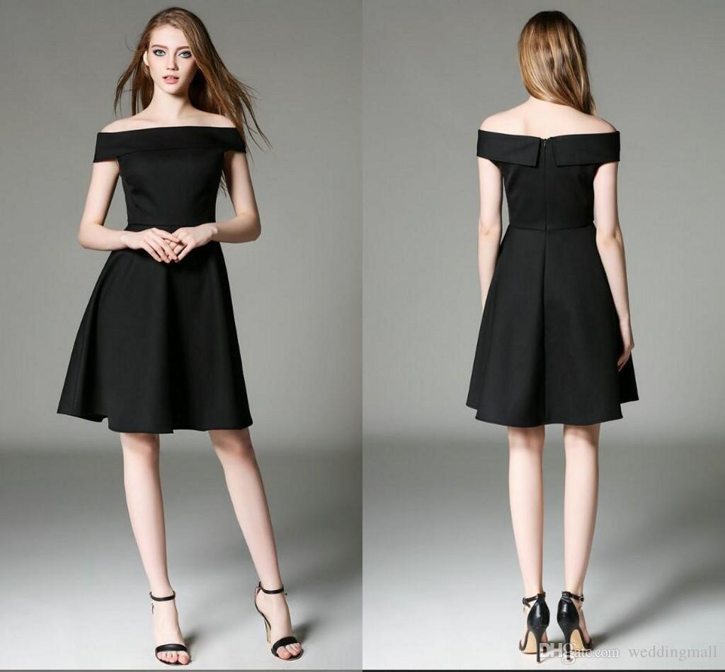 Großhandel Elegant Prom Kleider Kurze Kleider Bateau A Linie Hepburn ...