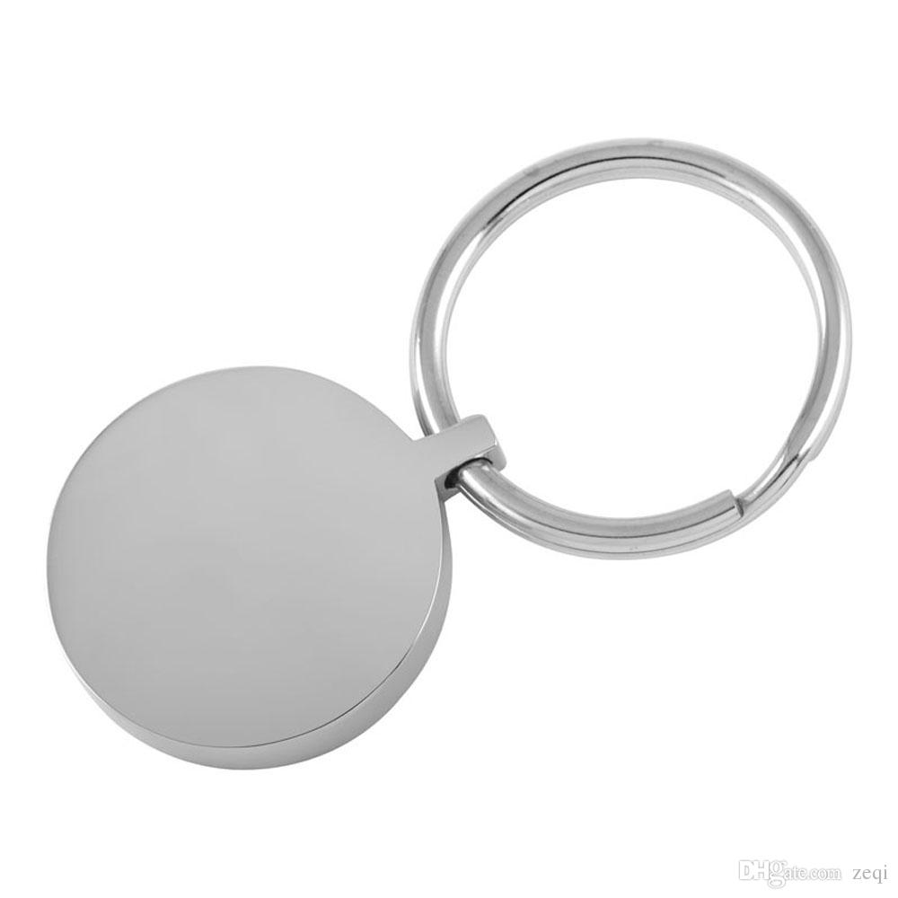 IJK0039 Round Blank Engraveable Stainless Steel Key Chain Cremation Ashes Keepsake Urn Key Ring