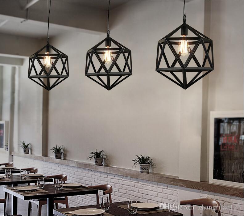 Único Cabeça Loft Luz Pingente de Metal Industrial Antigo Ferro Pendurado Lâmpada Edison Lâmpada Luzes de Fixação de diamante Pingente Lâmpadas Lamparas
