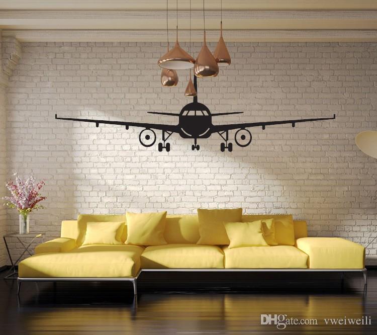 Avião 3d Art Poster Adesivos de Parede, aeronave Civil interior decorativo adesivos de parede Avião Arte Da Parede Decalque Adesivos