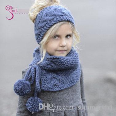 Compre Niños Sombreros Bufanda Set Niñas Hueco Crochet Sombreros + ...