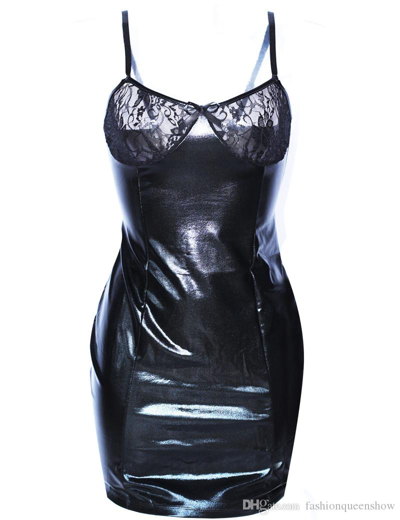 Hot Black Faux Leather And Lace Sexy Lingerie Dress Exotic Strap Babydolls Patchwork Nightdress Lace Up Chemise