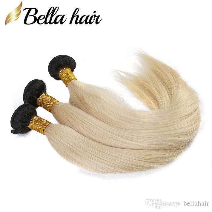 Bellahair Бразильские девственницы Weaves 1b / 613 блондинка ommre пакетов волос расширения прямых человеческих волос 3шт / лот навалом