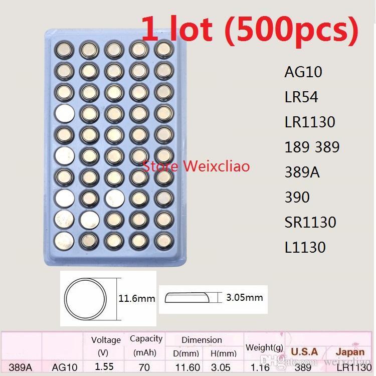 500 pz 1 lotto AG10 LR54 LR1130 189 389 389A 390 SR1130 L1130 1.55 V batteria alcalina batteria a bottone batteria pacchetto vassoio vassoio Spedizione Gratuita