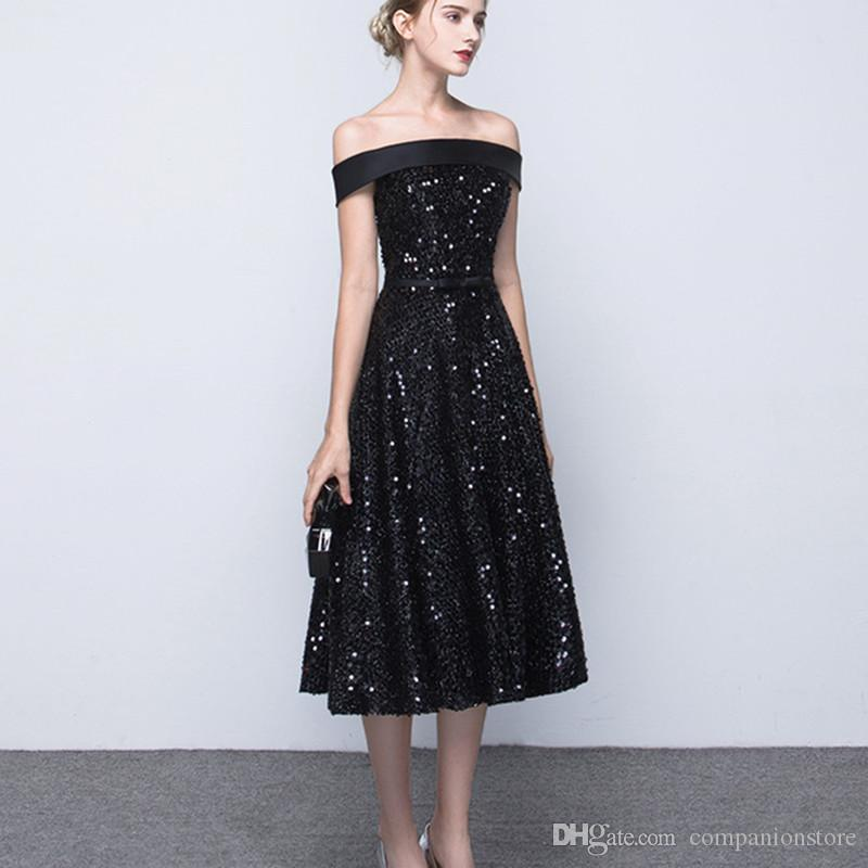 Cheap Boat Neck Black Evening Gowns Full Sequined Gold Dress Evening