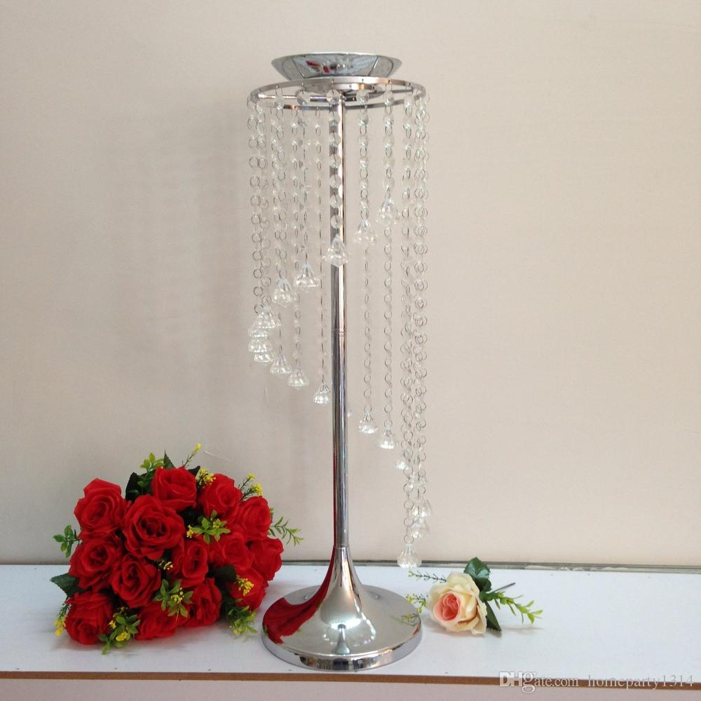 Silver Metal Crystal Table Centerpiece/Table Decoration/wedding Road Lead Candle holder flower vase For Event&Hotel&Party&Home Decoration