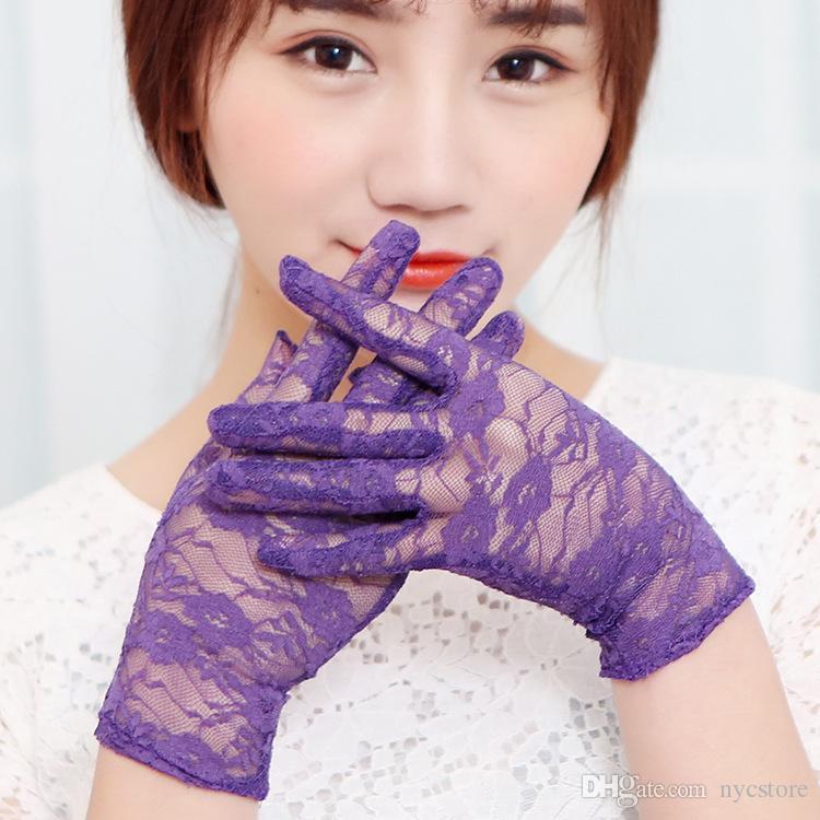 Noir floral voiture sexy dentelle gants de soleil dame conduite gant été court protecteur de soleil faveurs de mariage