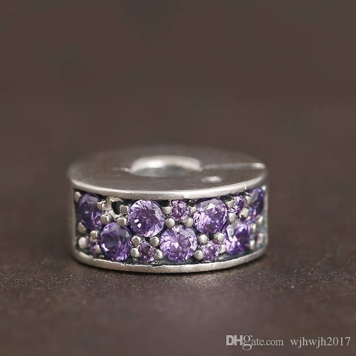 New Shining Elegance Clip Charm Beads 925 Sterling Silver Pave Purple Crystal Stopper Beads Diy Bracelets Pandora Fine Jewelry HB647