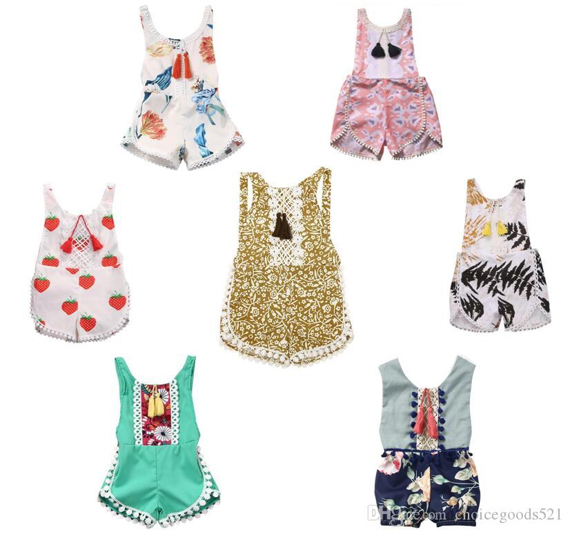 8cbfbe577c2 2019 Summer Baby Piece Pants Girl Clothing Shorts Flower Printing Playsuits  Bohemia Beach Kids Clothes Rompers Jumpsuits Lace Decoration From  Choicegoods521 ...