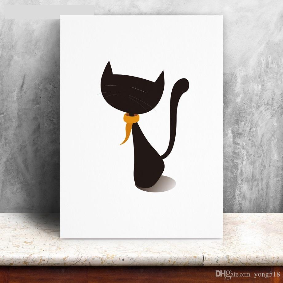 Modern Cartoon Animal Cat Wall Art Painting Canvas Poster Prints Canvas Painting Wall Pictures Kids Room Home Decor