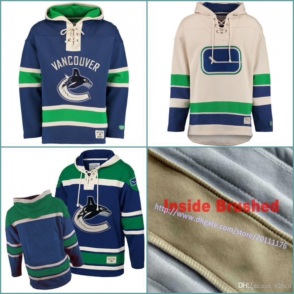 60826eec931 S-3XL Men s Old Time Hockey Vancouver Canucks Blank Custom Jersey Hoodie  Authentic Hoodies Jerseys Winter Sweatshirts Blue Cream Shirts