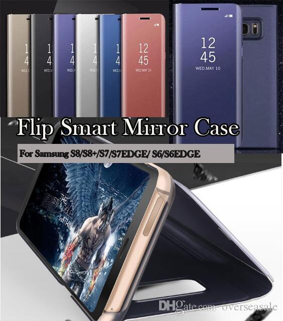 For Samsung Galaxy Note9 2018 A7 A5 A8 A6 Plus S7 Edge S9 S8 Plus Note8 C10  Luxury Clear View Flip Case Chrome Mirror Phone Hard Stand Cover