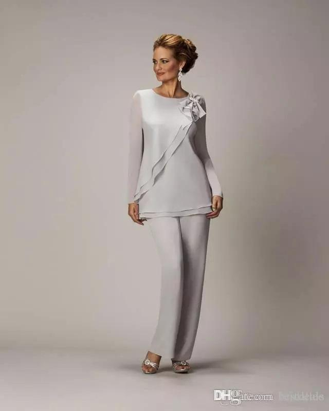 2017 İki Adet Anne Gelin Pantolon Takım Elbise Düğün Ucuz Şifon anneler Damat Pantsuits Için Uzun Kollu Anneler Resmi Giymek