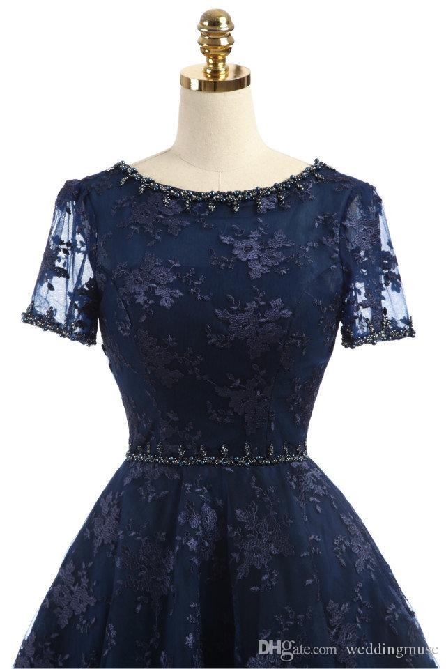 Real Navy Blue 2019 Short Dresses Prom Boat Neck Short Sleeve A Line Lace Beaded Formal Party Gown Lace-up Back Cocktail Evening Dresses