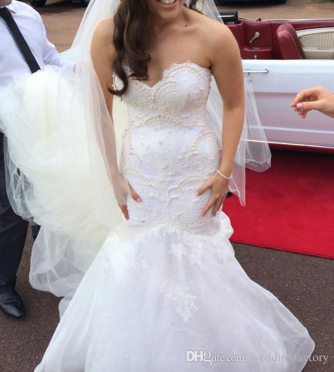 Elegant Fit and Flare Mermaid Wedding Dresses Sweetheart Sleeveless Pearls Lace Appliques Organza Long Train Bridal Gowns Custom Made
