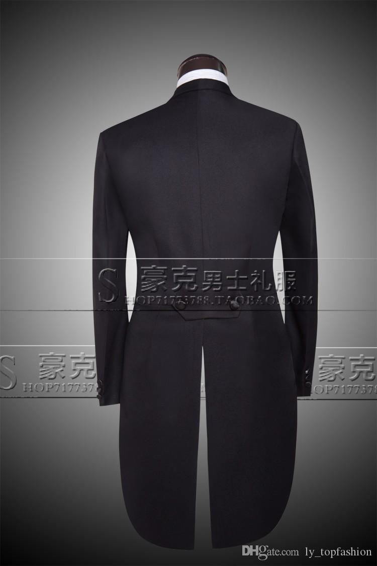Jacket + Pants + Vest + Bow tie 2020 Moda Uomo Abiti Tailcoat Tuxedo Prom cerimonia nuziale dello sposo Bianco Nero Slim Fit Maschio Singer
