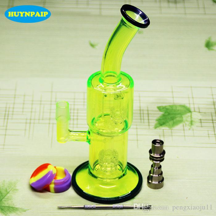 Fluorescent green glass bongs smoking water pipe With Domeless Titanium Nail for tobacco and oil rig 18.8MM Jiont free shipping
