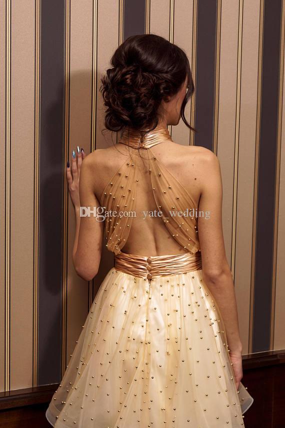 Золото короткие платья выпускного вечера высокая шея Холтер плиссированные тюль танец вечерние платья замочная скважина декольте спинки коктейльные платья с жемчугом