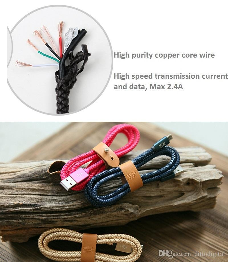 micro usb cable weave leather cover charging cable 1m android cable leather winder cylinder gift box quick charge gift set cables red blue