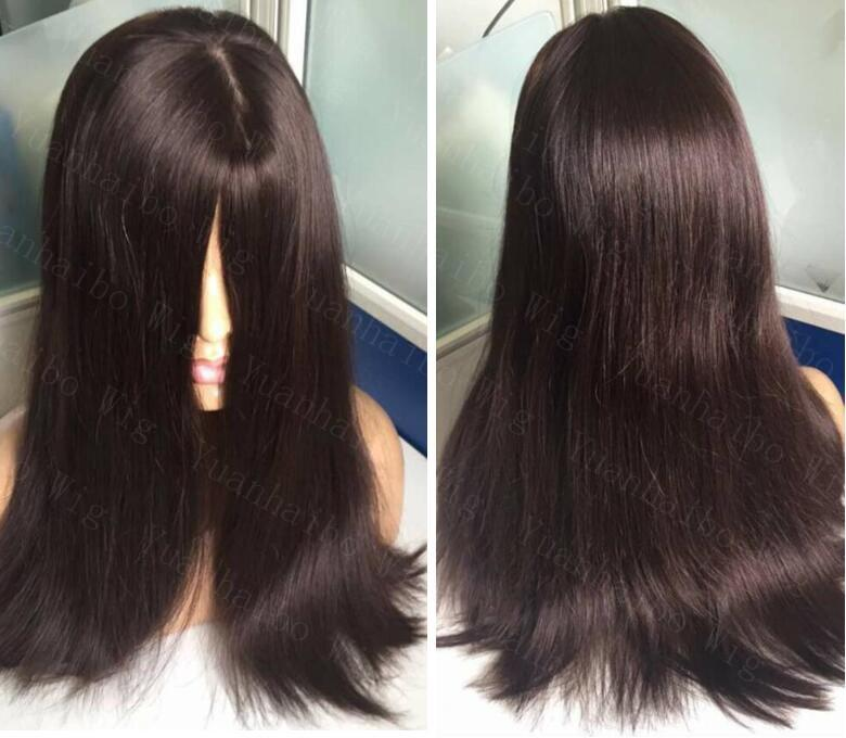 8a Grade Human Hair Dark Brown Color 2 Best Sheitels 4x4