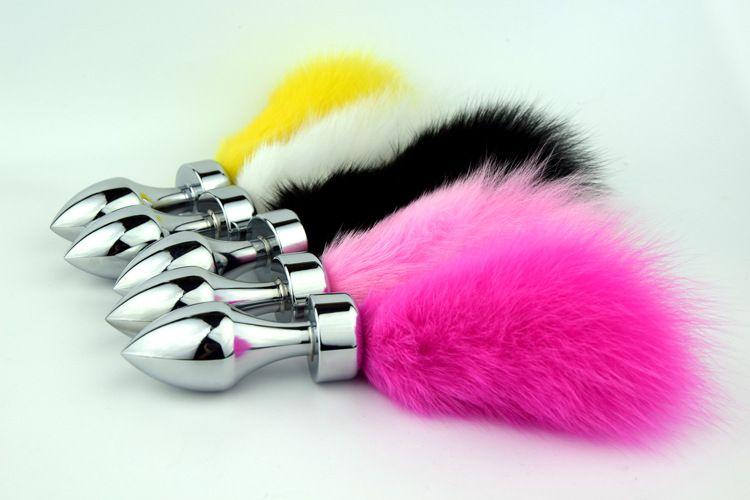 Forma unisex Bullet Testa Anale Plug Bunny Coda a coste con inserti BDSM Gear Fetish Sex Toys