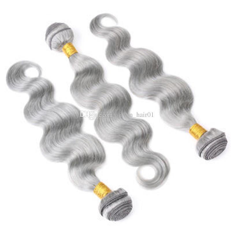 은색 그레이 번들 바디 웨이브 말레이시아 버진 인간의 머리카락 Weaves 8a 그레이드 바디 웨이브 인간의 머리카락 확장 / 더블 Wefts