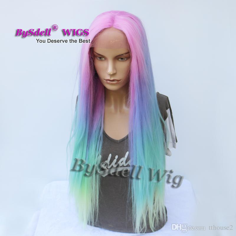 Long Silk Straight Mermaid Rainbow Color None lace/ Lace Front Wig Beauty Pastel Pink Purple Blue green Colorful Hue Anime Cosplay Party Wig