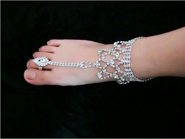 Gorgeous Wedding Rhinestone Anklets Beach Wedding Jewelry Toe Ring Anklet Foot Chains Ankle Bracelets Barefoot Sandals