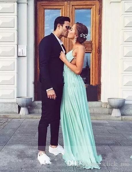 Mint Green Chiffon Prom Dresses Plain Sexy Deep V-Neck Bohemia Backless Party Dresses Evening Wear A Line Pleats Cheap Bridal Gowns