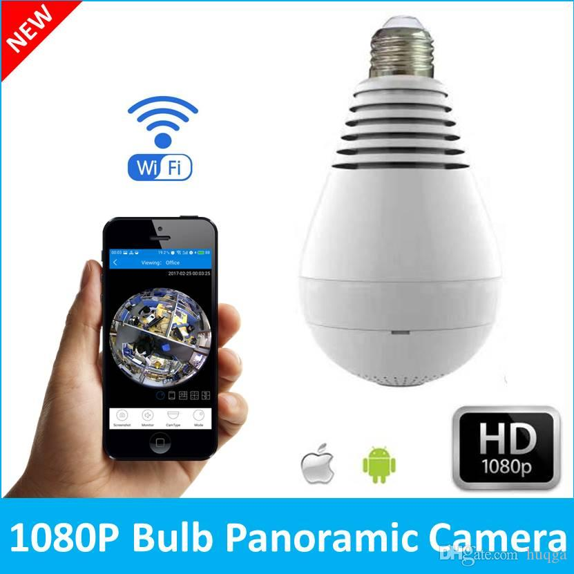Bulb Light Wireless IP Camera Wi-fi FishEye 1080P 360 degree Mini CCTV VR  Camera 2 0MP Home Security V380 WiFi Camera Panoramic